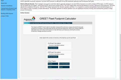 Screenshot of online GREET Fleet Footprint Calculator