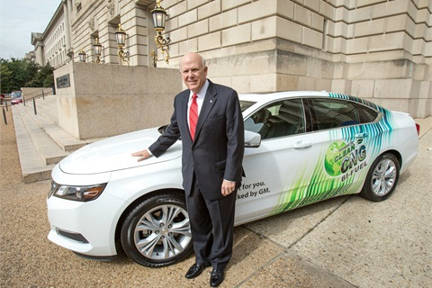 General Motors Chairman and CEO Dan Akerson unveils the 2015 Chevrolet CNG-Capable, Bi-Fuel Impala.